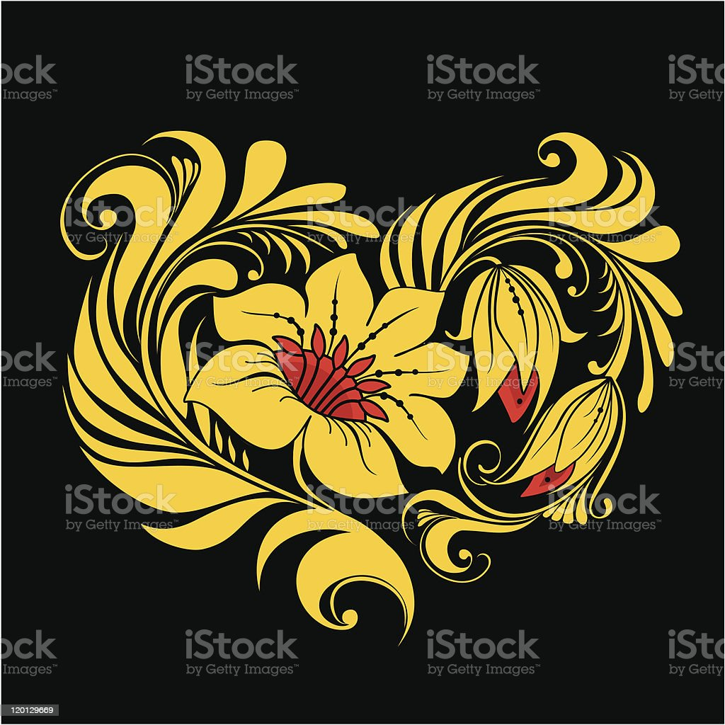 Heart in Russian traditional style. Khokhloma. royalty-free stock vector art