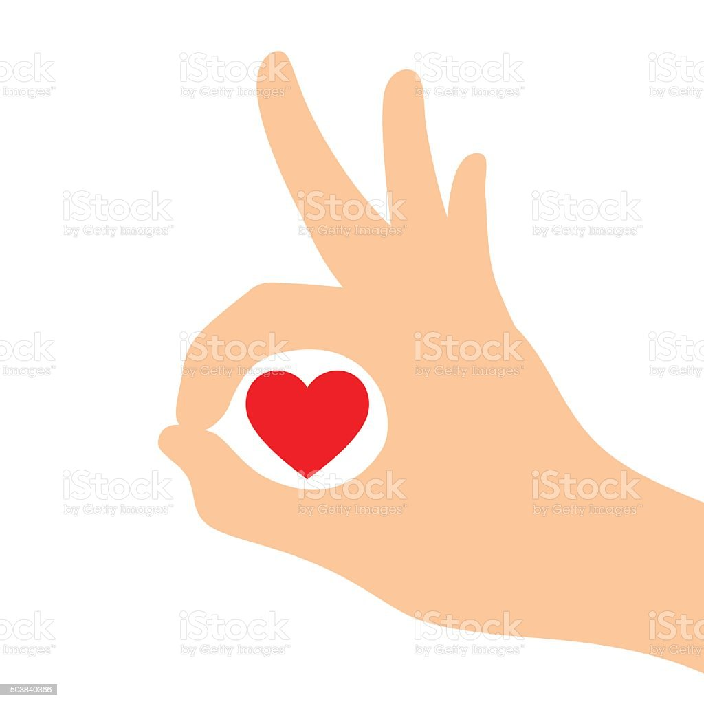 Heart in Silhouette of hands showing symbol of ok vector art illustration
