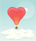 Illustration of a red heart shaped aerostat soaring in the sky.