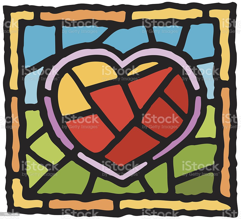 Heart in stained glass vector art illustration