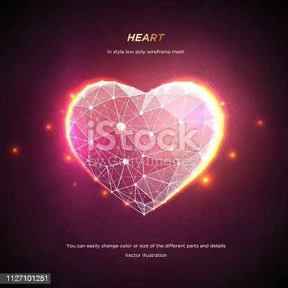 Heart in style Low poly wireframe mesh. Abstract on pink background. Concept Love or technology. Plexus lines and points in the constellation. Particles are connected in a geometric shape. Starry sky.