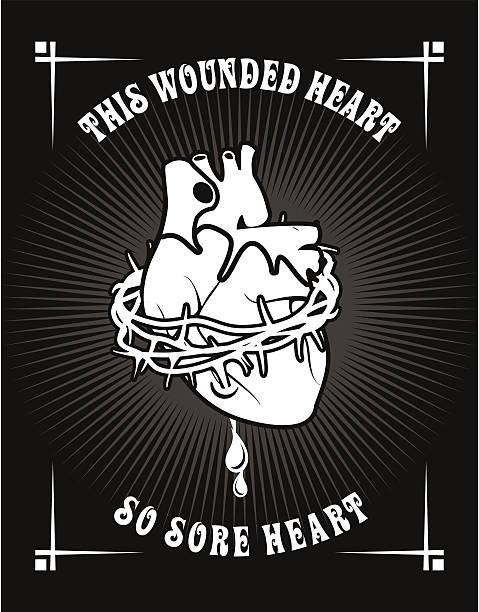 Corazón de la corona de thorns - ilustración de arte vectorial