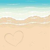 Heart in the sand on the Paradise Beach.