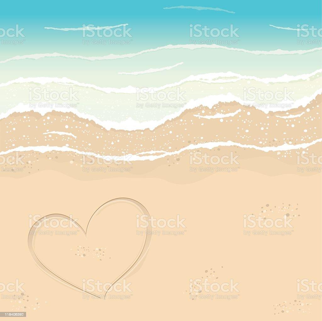 Coração na areia - ilustração de arte em vetor