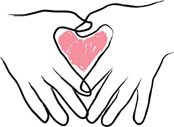 Heart in Two Hands vector art illustration