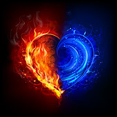 symbol of  heart in the fire and water visual effects. EPS 10 file. multiply, screen and transparency effects.