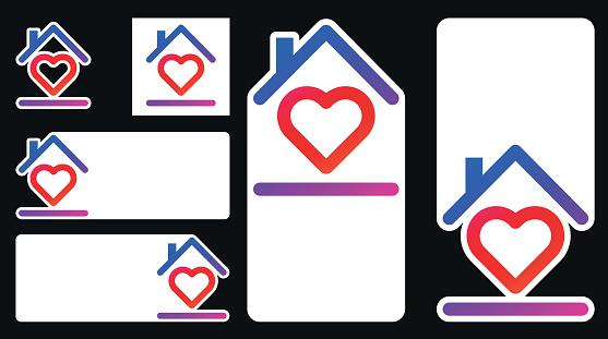 Heart inside house frame icon.
