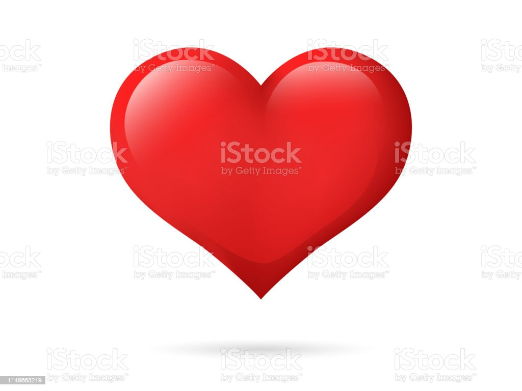 Heart isolated on a white background. Red color. Love symbol. Valentine's day. Icon or logo. Cute simple modern design. Beautiful gradient. Flat style vector illustration. - Royalty-free Abstrato arte vetorial