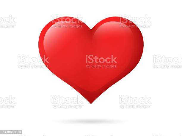 Heart Isolated On A White Background Red Color Love Symbol Valentines Day Icon Or Logo Cute Simple Modern Design Beautiful Gradient Flat Style Vector Illustration - Arte vetorial de stock e mais imagens de Abstrato