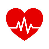 istock Heart Isometric health care concept red shape and heartbeat. 1183325543