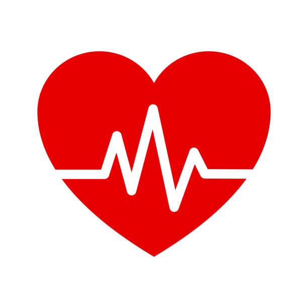 illustrazioni stock, clip art, cartoni animati e icone di tendenza di heart isometric health care concept red shape and heartbeat. - elettrocardiogramma