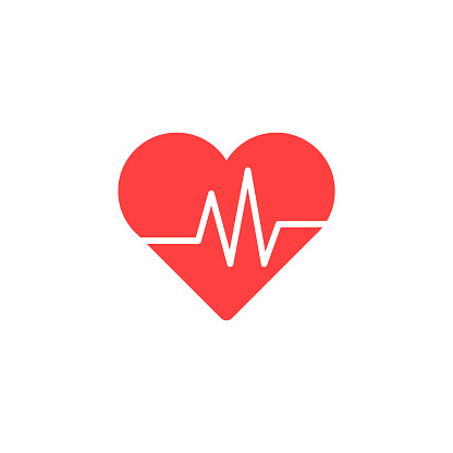 Heart Isometric health care concept red shape and heartbeat. Vector illustration. clipart