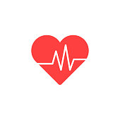 Heart Isometric health care concept red shape and heartbeat. Vector illustration