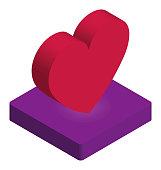 Vector of Heart Isometric Icon
