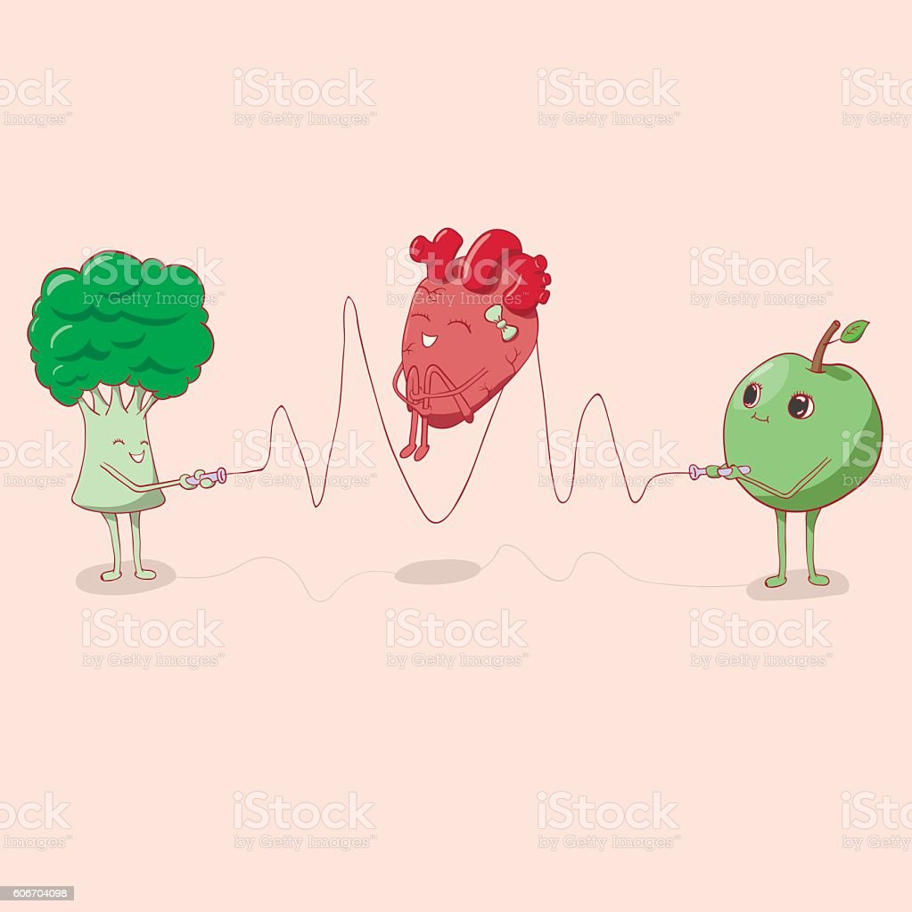 Heart Jumping Rope That Held The Apple And Broccoli Stock Vector Art ...