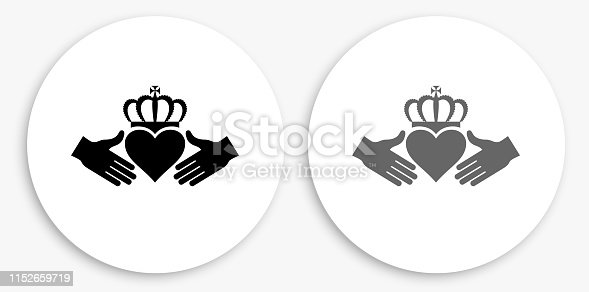 Heart King Black and White Round Icon. This 100% royalty free vector illustration is featuring a round button with a drop shadow and the main icon is depicted in black and in grey for a roll-over effect.