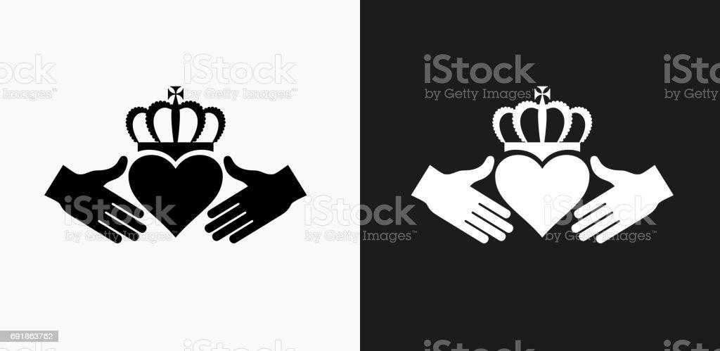 Ilustración de Icono De Corazón Rey En Blanco Y Negro Vector Fondos ...