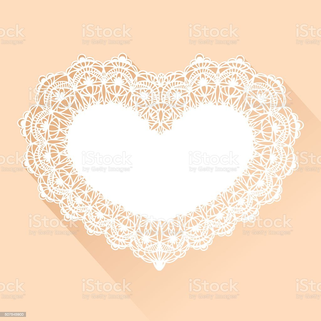 Heart Lace Background vector art illustration