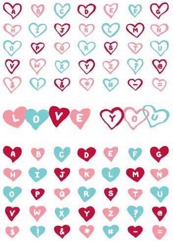 Heart Letters Alphabet Design Element