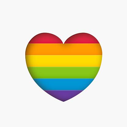 Heart lgbt sign rainbow color stripe. Pride flag Paper cut heart shape Concept love symbol. Vector