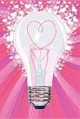 Heart Light Bulb Concept