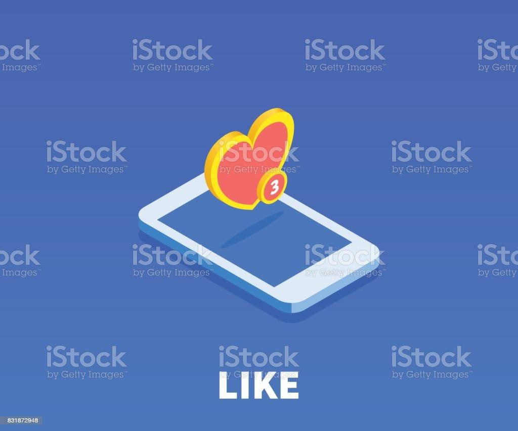Heart like icon illustration vector symbol in flat isometric 3d heart like icon illustration vector symbol in flat isometric 3d style isolated on buycottarizona Choice Image