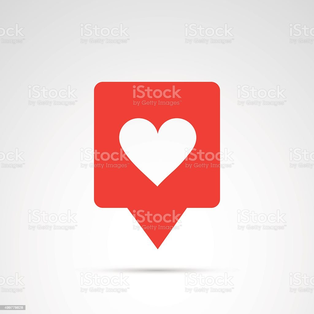 Heart, like - social media button. vector art illustration
