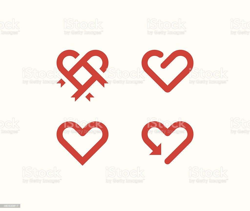 Heart line symbols vector art illustration