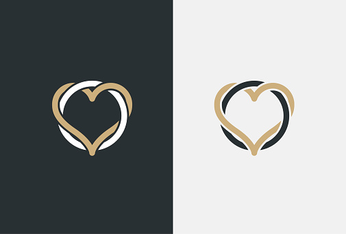 Heart Logo design vector template. St. Valentine day of love symbol Linear style. Luxury Logotype concept icon