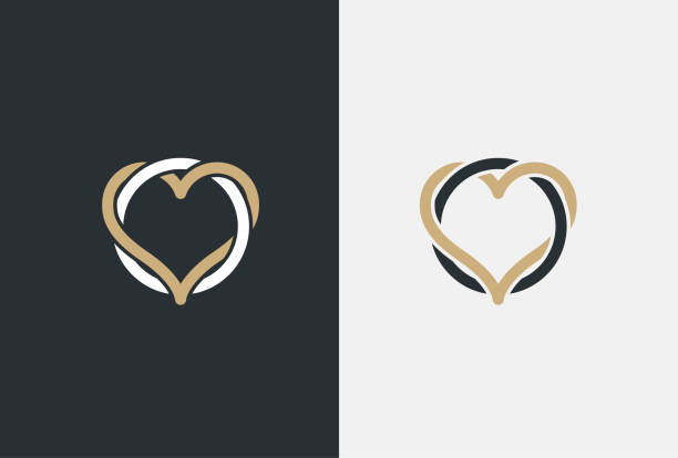 heart logo design vector template. st. valentine day of love symbol linear style. luxury logotype concept icon - marriage stock illustrations