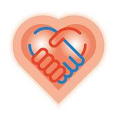 Heart logo / handshake and heart image