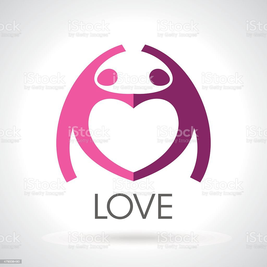 heart logo of couple in love vector design template royalty free heart logo of couple