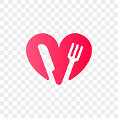 Heart logo vector icon for healthy food and diet or vegetarian nutrition supplement and vitamins. Isolated modern heart and fork with knife symbol for dieting or medical pharmacy