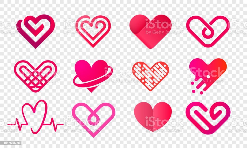 Heart logo vector icons set. Isolated modern heart symbol for cardiology pharmacy and medical center. Valentine love or wedding greeting card fashion design for web social net application - Royalty-free Abstrato arte vetorial