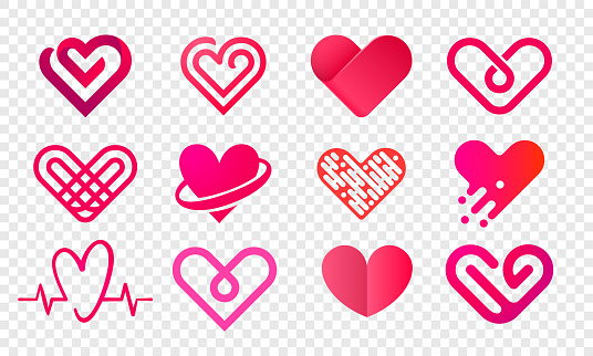 Heart logo vector icons set. Isolated modern heart symbol for cardiology pharmacy and medical center. Valentine love or wedding greeting card fashion design for web social net application clipart
