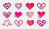 ハートのロゴのベクトルのアイコンを設定します。循環器薬局と医療センターの孤立したモダンなハートマークファッション デザイン web ソーシャル ネット アプリケーションの愛や結婚式�