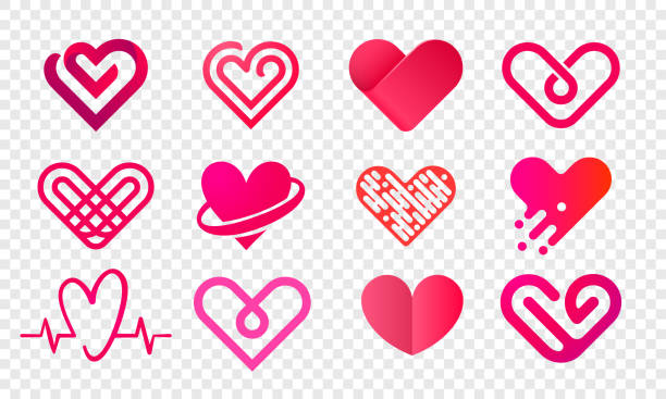 Heart logo vector icons set. Isolated modern heart symbol for cardiology pharmacy and medical center. Valentine love or wedding greeting card fashion design for web social net application Heart logo vector icons set. Isolated modern heart symbol for cardiology pharmacy and medical center. Valentine love or wedding greeting card fashion design for web social net application romance stock illustrations