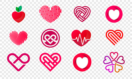 Heart logos set abstract design for healthy food and diet or vegetarian nutrition supplement and vitamins. Vector isolated modern heart flower and fruit symbols for Valentine love or medical pharmacy