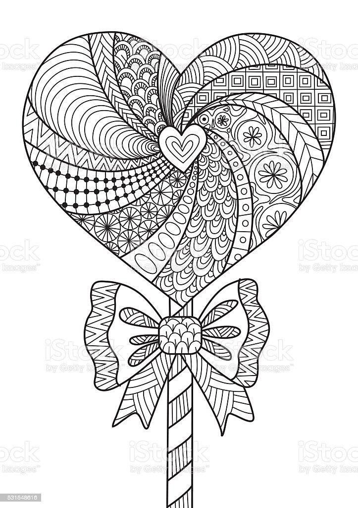 Ilustración de Corazón Piruleta De Trazado Diseño Del Libro Para ...