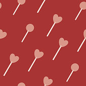 Hand drawn heart lollipop seamless vector pattern. Vintage candy pattern for Valentine'™s Day and romantic holidays. Love and romance symbol. Poster, print, card, fabric