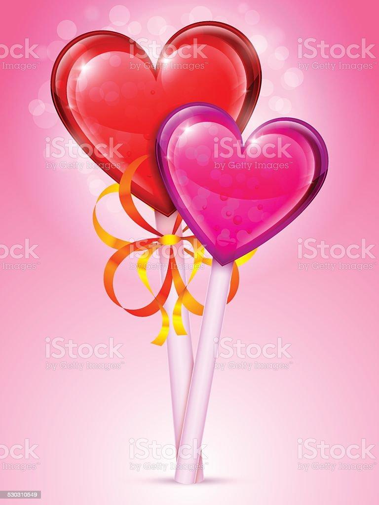 Heart Lollipops vector art illustration