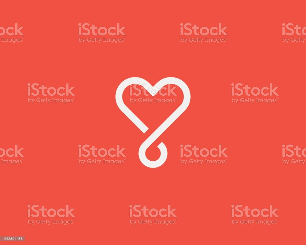 Heart loop vector logotype. Linear medical social logo symbol design.