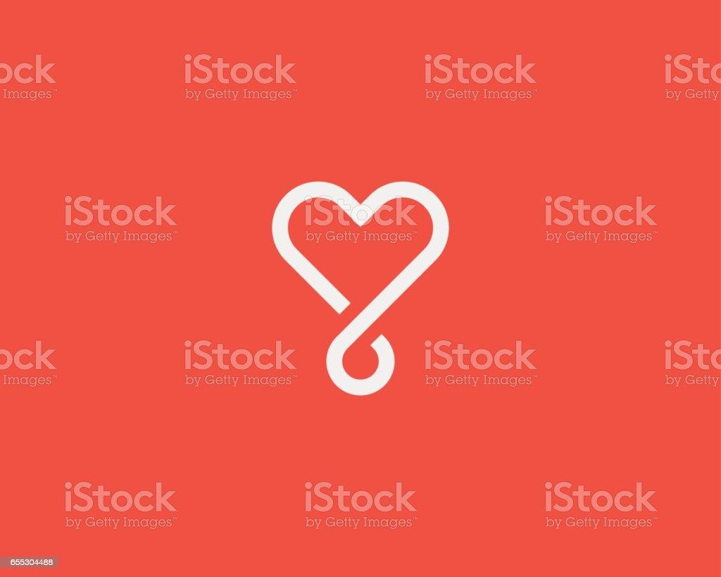 Logo coeur boucle vector. Création de logo social médical linéaire de symbole. - Illustration vectorielle