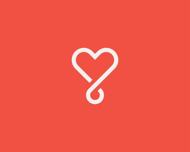 Heart loop vector logotype. Linear medical social logo symbol design. vector art illustration