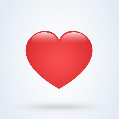Heart Love Emoji Icon Object. Symbol Gradient Vector Art Design Cartoon Isolated Background