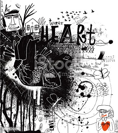 Hand drawn illustration of heart. Concept of quote: Home is where the heart is. Concept of spirituality and being