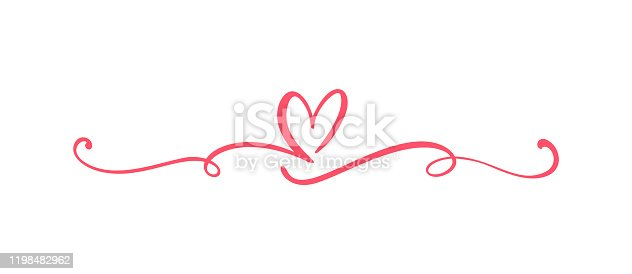 istock Heart love sign logo. Design flourish element valentine card for divider. Vector illustration. Infinity Romantic symbol wedding. Template for t shirt, card, poster 1198482962