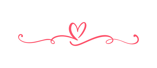 Heart love sign logo. Design flourish element valentine card for divider. Vector illustration. Infinity Romantic symbol wedding. Template for t shirt, card, poster