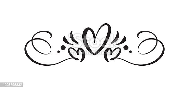 istock Heart love sign logo. Design flourish element valentine card for divider. Vector illustration. Infinity Romantic symbol wedding. Template for t shirt, card, poster 1203798332