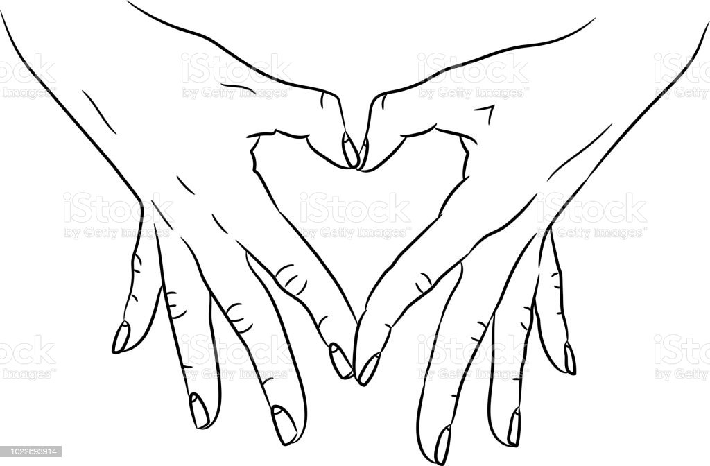 Heart Love Symbol Composed Of Two Hands Palms Black Brush Lines On